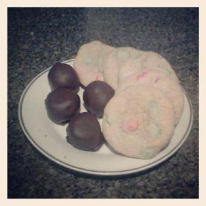 Peanut Butter Balls and M&M Christmas Cookies