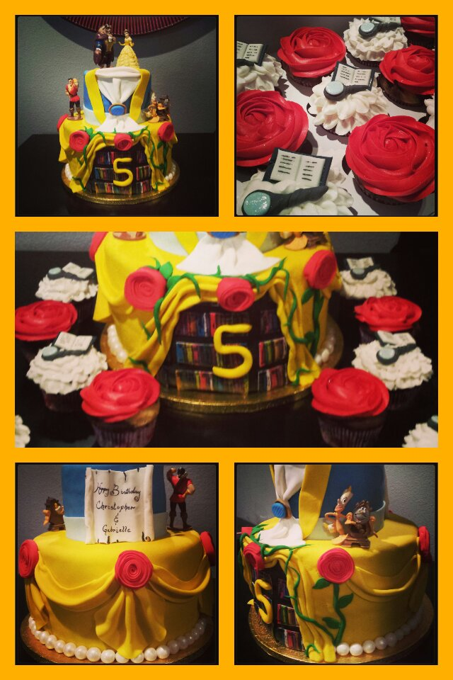 Beauty and the Beast Cake & Cupcakes